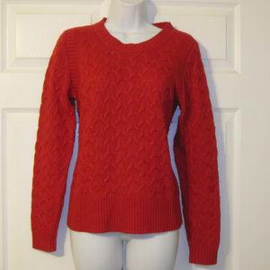 J Crew Red Cableknit Angora Blend Sweater M